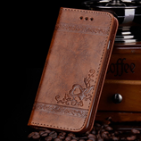 High Quality Leather Flip Cover Brown Wallet iPhone Case